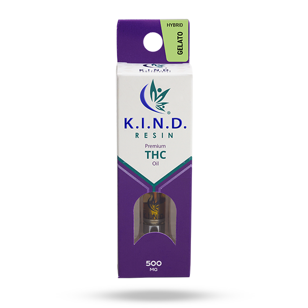 K.I.N.D. Resin 500 mg THC vape cartridge - Gelato