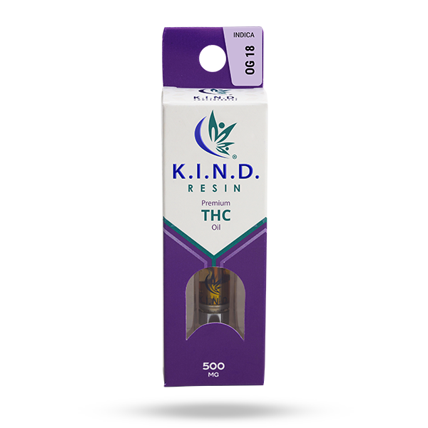 K.I.N.D. Resin 500 mg THC vape cartridge - OG 18