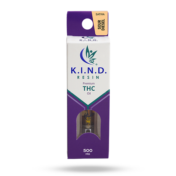 K.I.N.D. Resin 500 mg THC vape cartridge - Sour Diesel