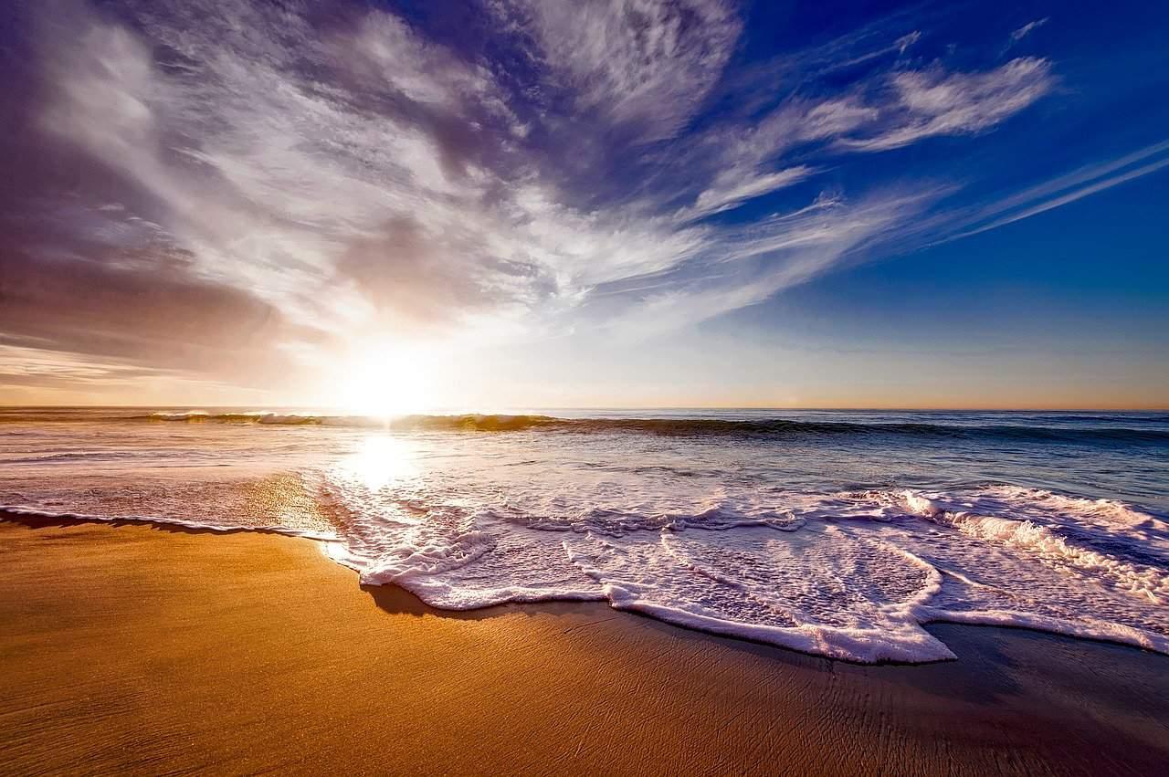 sunset on a beach in California