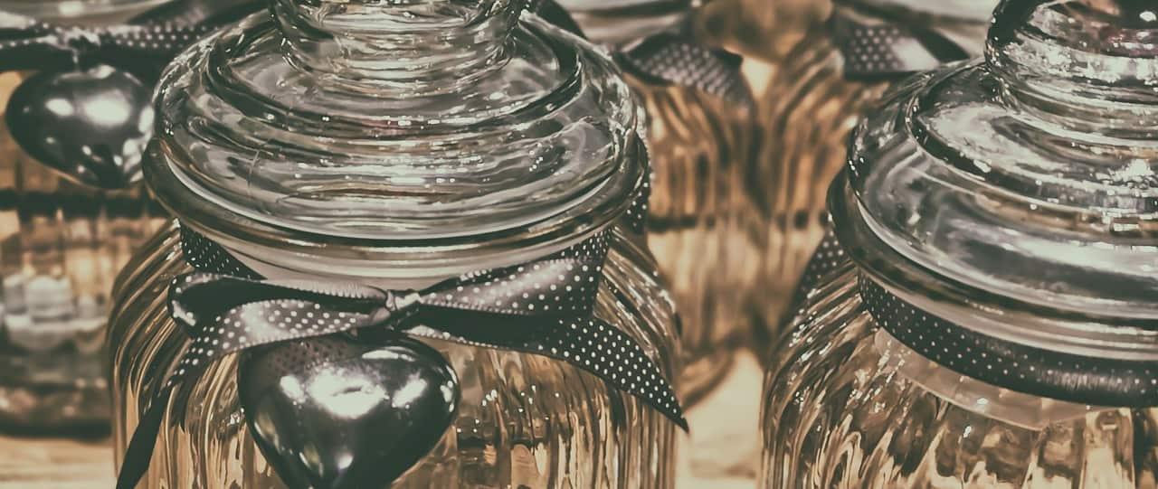 close up of glass storage jars