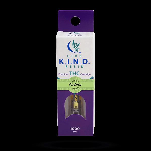 K.I.N.D. Live Resin 1000 mg THC vape cart Gelato