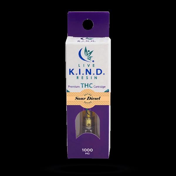 K.I.N.D. Live Resin 1000 mg THC vape cart Sour Diesel